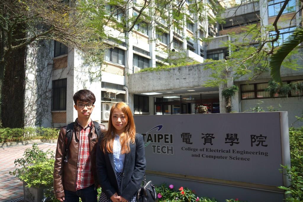 身為首屆台灣兩年制銜接學士班的應屆畢業生,就讀台 北科技大學電子工程系的本港學生冼婉琳(右)和尹世 泓(左)均表示,台北消費水平較本港低,故畢業後計 劃留台工作或報考研究所。