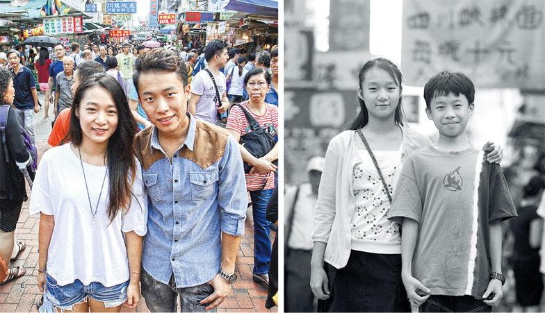 陳允沖(右)10 年前與年長兩歲的姊姊陳允玲(左)一同在深水埗街頭留影,當年12 歲的他 在書中寫道,「長大後想當醫生」及「希望長 大後有工作」。當年希望學業進步的姊姊夢想 成真,現已赴台灣留學,但陳允沖對於行醫的 志願已無印象,如今穿不成醫生袍,改穿廚房 工作服,目標是由低做起,希望將來開餐廳, 可以買車、買樓,給家人更好的生活。(社區 組織協會提供)