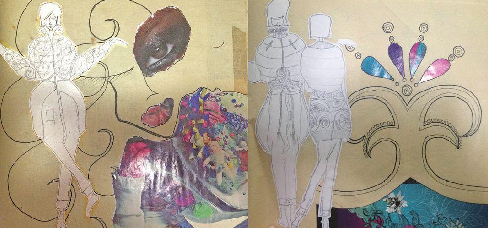 Octo指她修讀時裝設計高級文憑時,因不懂繪畫,草圖的線條生硬及欠缺陰影。圖中草圖以「跳水」為題,她幻想跳水時,所有事物倒轉的形態,大膽嘗試將上衣設計套用在褲上。