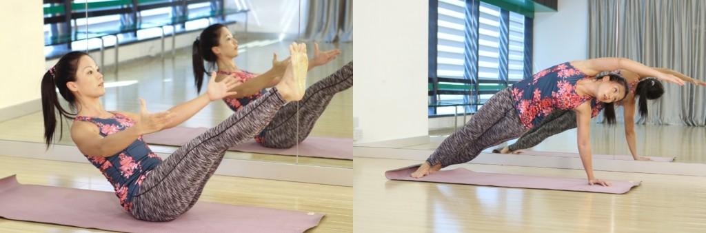 透過普拉提的不同動作,學員可鍛鍊腹部、背部、盆骨等位置的核心肌肉。