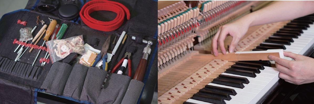 鋼琴調音師要使用不同的工具(左),為鋼琴進行修復工序(右)。