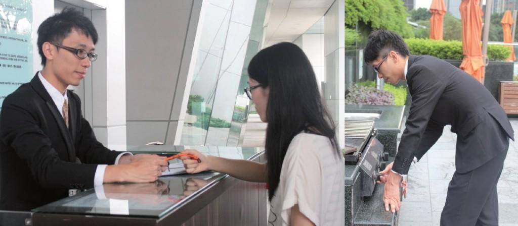 會所助理的工作繁多,包括為住客登記使用設施(左)及負責維修設施事宜(右)。