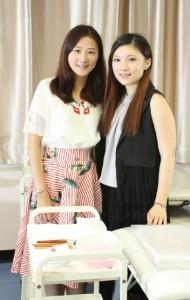 明愛社區書院美容課程導師Sharon(左)及課程畢業 生Kim(右)均認為美容業界競爭大,有意投身美容業的學生應持續進修,增值自己。