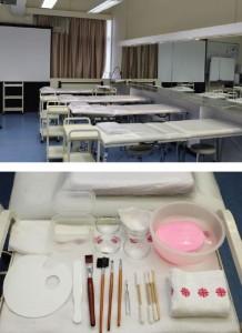 明愛美容課程的美容課室提供12張美容 床(上)予學生作課堂練習,亦有充足 的美容工具(下)。學生同時在此學習及考核專業試,在熟悉的環境表現更有優勢。