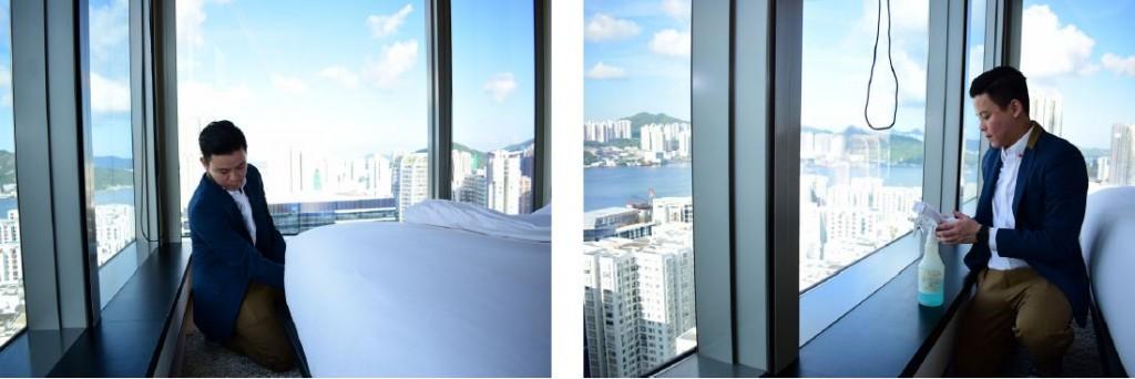 房務員在整理床鋪時,會把床單貼服地鋪在床褥上,藏好多餘的部分(左)。另外,要將玻璃擦亮,需使用玻璃水,並反覆從不同角度檢查玻璃是否乾淨(右)。